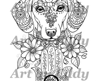 Art Of Dachshund Single Coloring Page