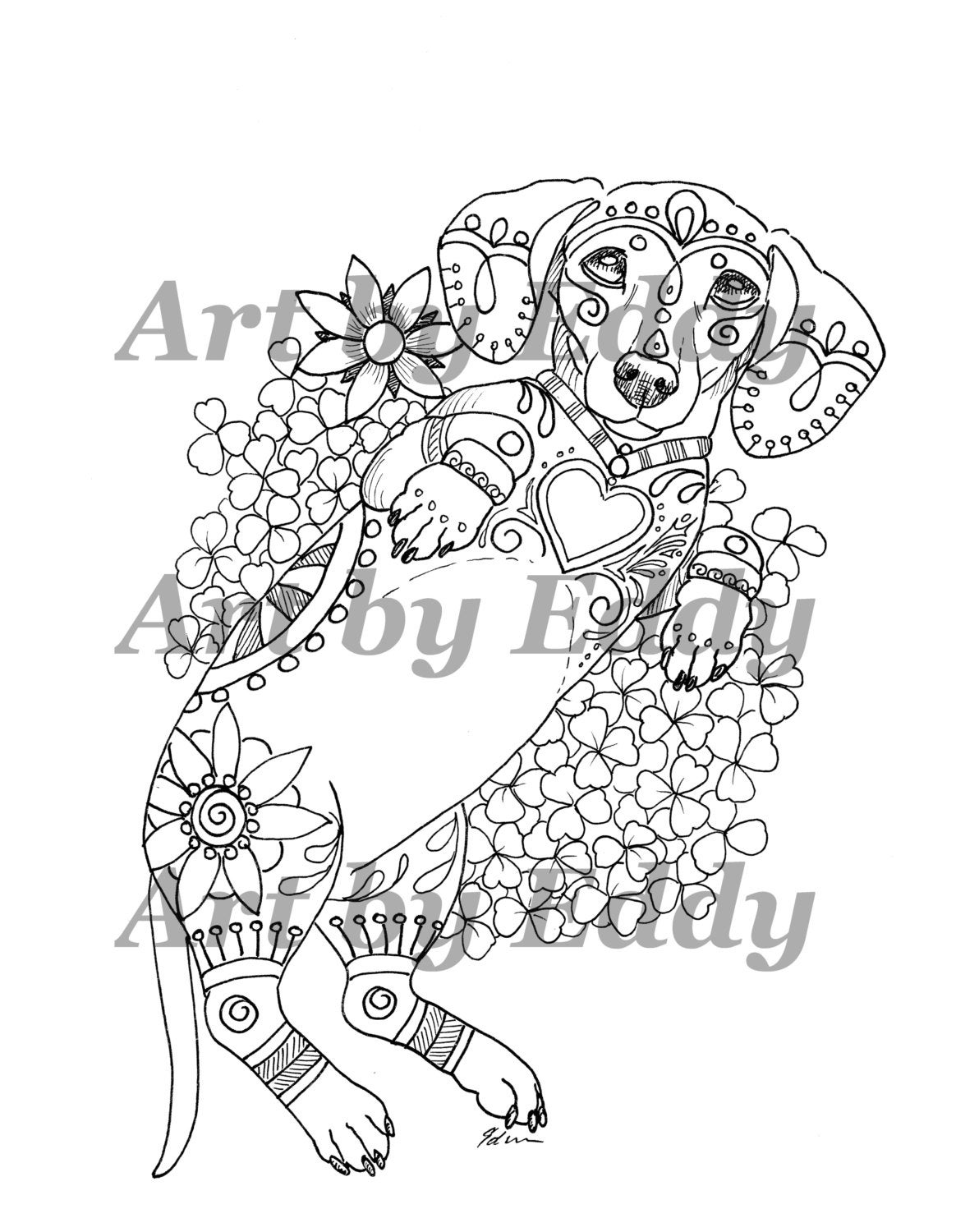 daschunds coloring pages   Art of Dachshund Single Coloring Page Rub my Belly