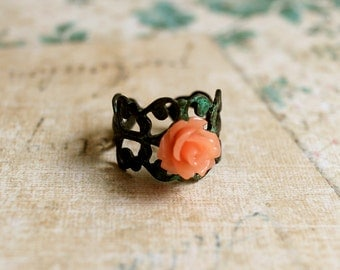 Rose Flower Ring. coral flower ring. petite rose ring. verdigris patina ring. filigree flower ring