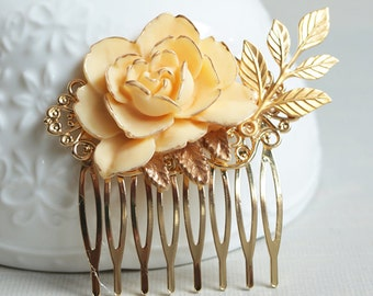 Ivory Rose Hair Comb. hair clip. golden rose.  gold leaf. filigree barrette. hair accessory. vintage wedding