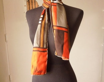 END of SUMMER SALE Vintage 70's Scarf, Oblong, by Vera, Brown, Orange, Off White, Taupe with Abstract Colorblock Geometric Design.