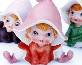 Elf Figurines 1970s Homco Pixies Set of Three Elves