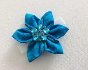 Blue Rhinestone Dog Collar Flower- Ready to Ship
