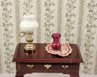 Dollhouse Hurricane Lamp Miniature Vase w Crochet Doily Miniature Decor