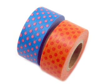 MASTE polka dot duo Japanese masking tape set - set of 2 washi tapes - Japanese washi tape