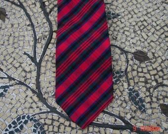 Vintage Red Green Blue Plaid Tartan Necktie by Boston Harbor