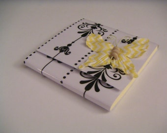 White and Black Floral and Dotted Stripes Sticky Notes Pad with Yellow and White Chevron Butterfly