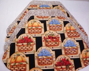 Round Placemats, Fruit Baskets, Wedge Placemats, Fruit Placemats, Small Table Mats, Homespun Decor