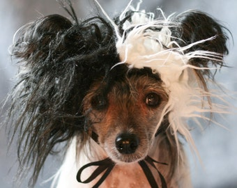 Black and White Faux Fur Dog Costume Wig Hat Medium