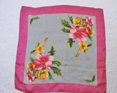 Vintage 80s Women's Pink Gray Floral Silk Square Spring Scarf