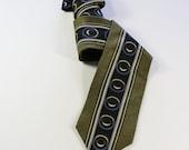 SALE - Vintage 80s Does 40s Art Deco Style Olive Green Black Silk Necktie