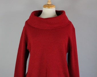 Vintage 90s Women's Dark Red Ralph Lauren Holiday Christmas Wide Funnel Neck Pullover Wool Sweater