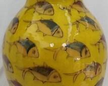 Antique Persian Fish Handmade paint pottery ceramic  XL VASE  huge multi colors  vase  islamic  art  Free Shipping !!