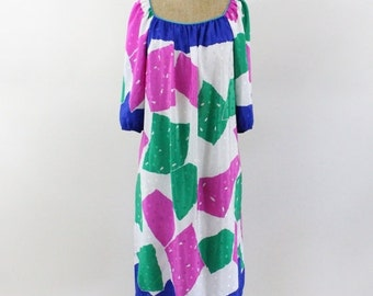 ON SALE 80s dress -  kaftan dress - color block - Bob Mackie