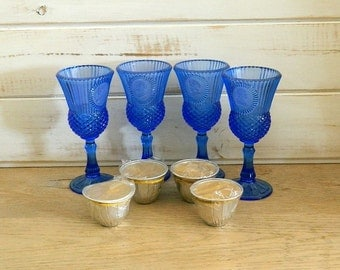 George and Martha Washington Water Goblets - Candle Holders - By Fostoria in Cobalt Blue - 1975