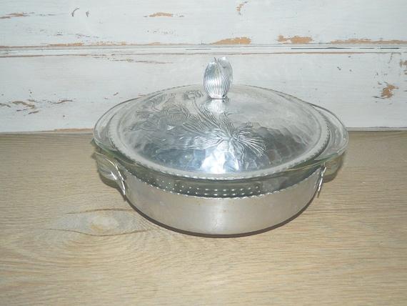 Vintage Hammered Aluminum Covered Serving Dish - Casserole Dish - Pyrex Insert