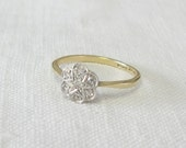 20% off for 5 Days - Vintage Art Deco Diamond Cluster Ring