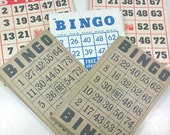BINGO CARDS, Mixed Lot of 55, Three Styles, Game Room Decor,  Vintage Gaming Paper, Repurposing, Altered Art Supplies