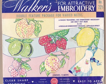 WALKER'S FRUIT TRANSFER'S , Traditional Stamped and Magic Transfers, Colored Fruit, Vintage Embroidery Patterns