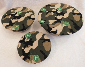 Handmade Set of Three Reusable green tractor Camo Bowl Covers, Elastic bowl cover, eco-friendly, lid cover, dish cover, picnic, food storage