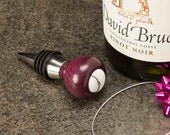 Wine Stopper with Purpleheart Wood and White Turquoise