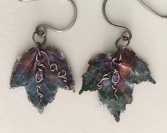 maple leaf earrings, fall jewelry, silver earrings, leaf jewelry, handcrafted jewelry