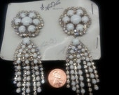 DISCOUNTED Vintage Ann-Vien rhinestone and Milk Glass clip on dangle chain earrings.