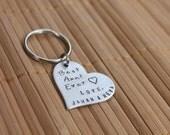 Best Aunt Ever Heart Hand Stamped Keychain