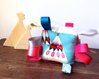 Pink Tipi Baby Block, Tribal Arrows, Baby Girl Gift, Sensory Baby Toy, Colorful Pinks Grey Gray Blue Aqua Gold, Baby Rattle, Ribbon Baby Toy