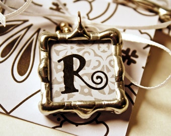 Custom Initial Charm Pendant, FREE US Shipping, Silver Solder, Black and White, Lead Free, Classic or Curly Font, Personalized,