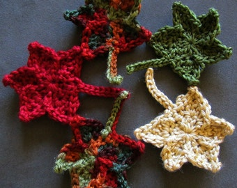 """Crochet Maple Leaves for any Season, 3"""" to 4"""" (7 cm to 10 cm) approximately"""