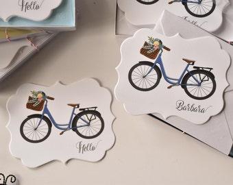 Vintage Bike Die Cut Note Card Set - Custom Stationery