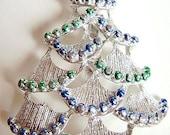 Vintage Rhinestone Christmas Tree Brooch Pin Signed Diamante