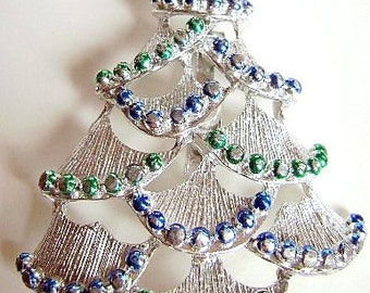 Vintage Rhinestone Christmas Tree Brooch Pin Signed Diamante