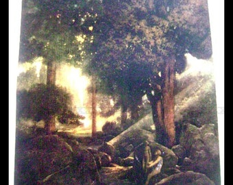 Maxfield Parrish Full Color Plate 1910 children's book- A Wonder Book and Tanglewood Tale -  The FOUNTAIN OF PIRENE