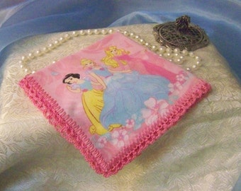 Girls Handkerchief, Hanky, Hankie, Children's, Pink, Princess, Hand Crochet, Lace, Ready to ship