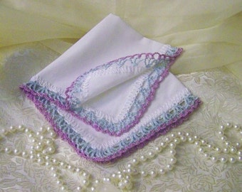 Custom Embroidered handkerchief, Hanky, Hankie, Personalized, Monogrammed, Hand Crochet, Lavender, Blue, Lace, Bridesmaids, Bridal party