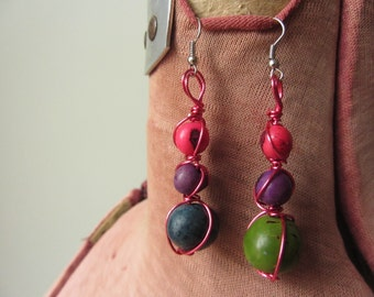 Bright Wire Wrapped Tagua Nut Earrings, Jarina Seed Earrings, Upcycled Recycled Jewelry, Boho Earrings, Eco Fashion, Mismatched Earrings