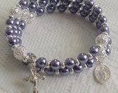 Five Decade Catholic Rosary Bracelet - Violet Glass Pearls with Small Miraculous Medal - Available in Gold or Silver