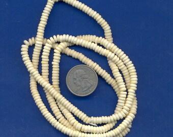 """36"""" strand of 5mm bone beads:  White"""
