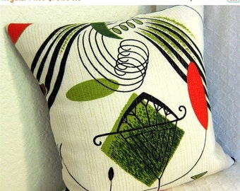 "ON SALE Mid Century Modern Eames Pillow Cover -- Atomic Mobiles -- Vintage Barkcloth - for 18"" x 18"" insert"