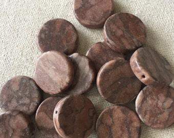 Destash Reddish Brown Marble Coin Beads