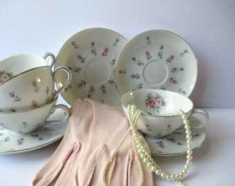 Vintage Teacups and Saucers Harmony House Rosebud Set of Four - Mid Century