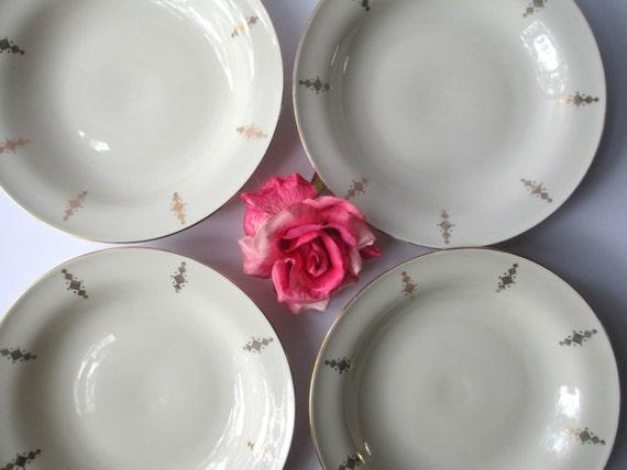 Vintage Winterling Bavaria Cream Gold Rimmed Soup Bowls Set of Four - Regal