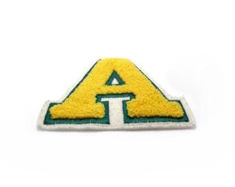 Letter A Patch / Superhero Patch / College Jacket / Yellow Green White / A  / Letter a / Vintage Patch Applique / Citrus / Lemon
