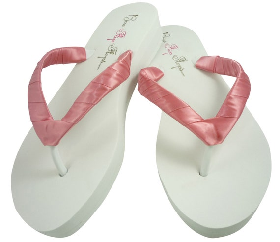 Dusty Rose Wedge Flip Flops Ivory White Many By Bridalflipflops-1507