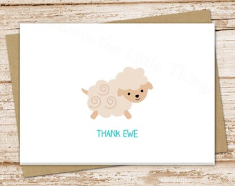 PRINTABLE baby thank you cards . sheep note cards . thank ewe . folded cards . stationery . stationary . notecards . printable . You Print
