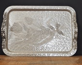 Vintage Rodney Kent Hammered Aluminum Tulip Tray #408 Hand Wrought Butler Serving Tray Display