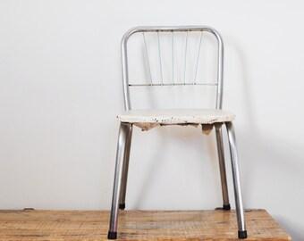 Mid Century Chrome Kids Chair White Vinyl Swirl Metal Childs Chair