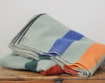 Vintage Faribo Wool Camp Blanket All Wool Green Striped Blanket 66 by 75